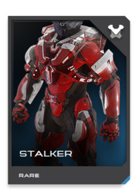 "Built with a ""black box"" of electronics copied from Jiralhanae hunting gear, the STALKER is an eccentric Mjolnir variant that proved an ideal match for UNSC combat trackers."